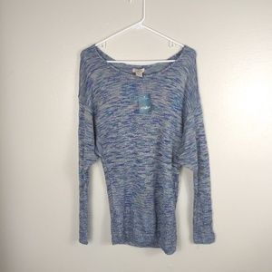 NWT Lucky Brand Blue Dolman Sleeve Stretch Top